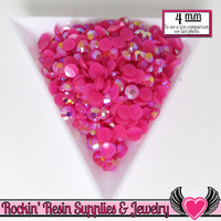 200 pcs 4mm AB HoT PINK RHINESTONES