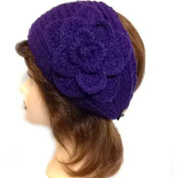 Women's Purple Large Crochet Flower Adjustable 2 Button Stretch Headband Ear Warmer Crochet Headband