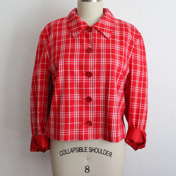 Vintage 80s Pendleton Red & White Sweet Plaid Jacket // Lightweight School Jacket