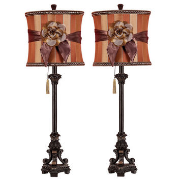 "Aspire Valencia Buffet 33"" H Table Lamp with Drum Shade (Set of 2)"
