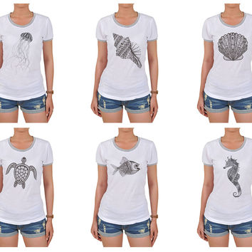 Zentangle stylized black see fish Graphic Printed Short Sleeves T-shirt WTS_06