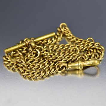 Victorian 14K Rolled Gold Watch Chain Necklace