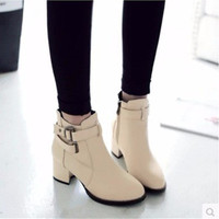 Ladies Fashion Cheap Zip big size41 42 43women Round toe boots Ankle Buckle Warm winter Velvet boot thick high heel Pumps Bootie