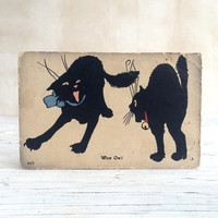 Wow Ow! Crazy Cats, bold graphic illustrated postcard. Frame as a unique wall art or gift for a friend.