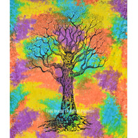 Hippie Tree of Life Tapestry Wall Hanging, Tie Dye Bedding Sheet on RoyalFurnish.com