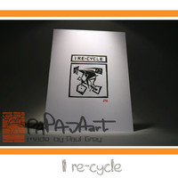 I re-cycle ( Boy ) - Handmade linocut print on A5, cycling linoprint, road cycling, mountain biking