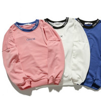 Unisex Lover Solid Color Letter Scoop Neck Loose Long Sleeve Sweatshirt Top Sweater Pullover