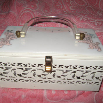 Lucite Box Purse Gorgeous Lucite & Brass Vintage 50s- Hinged Box Style Pearlized w pink poodles musical notes With Matching Arched Handle