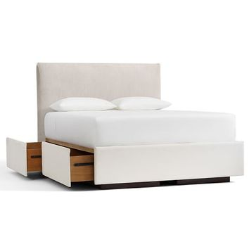 RALEIGH UPHOLSTERED SQUARE HEADBOARD & STORAGE PLATFORM BED