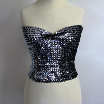 Vintage 1980-90s Tube Top Iridescent Club Kid Sequin 80s Blackor Gun Metal Tube Top OS