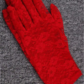Lace Floral Crocheted Sun Protective Short Knitted Gloves Red