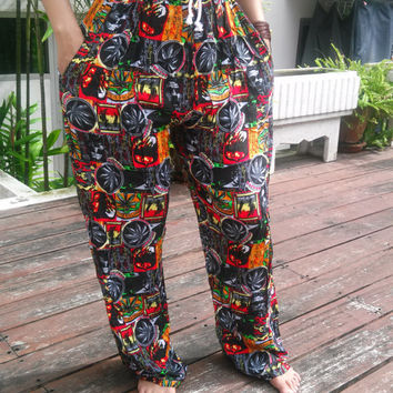 Unisex Africa Jamaicans Bob Marley Reggae Rasta Yoga Pants Print Fisherman Native Hippie Massage pants Gypsy Thai Thailand Handmade Clothing