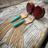 "Native Goddess Dangle Plugs-Sizes 1"" (25mm)/ Handcrafted wood Gauges/ Gold and Turquoise/Elegant/Earthy/Wood Gauges/Wood Expanders/Weighted"