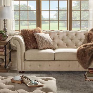 Knightsbridge Beige Fabric Button Tufted Chesterfield Sofa and Room Set by iNSPIRE Q Artisan | Overstock.com Shopping - The Best Deals on Sofas & Loveseats