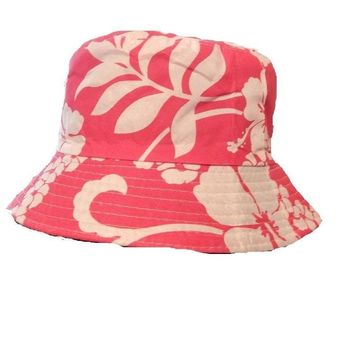 Men Women Floral Big Flower White Hot Pink Red Bucket Hat Cotton Fishing Camping