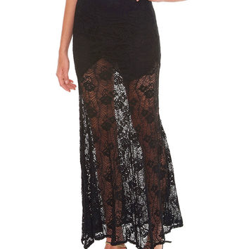 On My Mind Lace Maxi Skirt - Black
