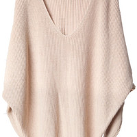 ROMWE | V-shaped Neck Bat-wing Sleeve Khaki Jumper, The Latest Street Fashion