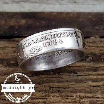 Massachusetts 90% Silver State Quarter Coin Ring