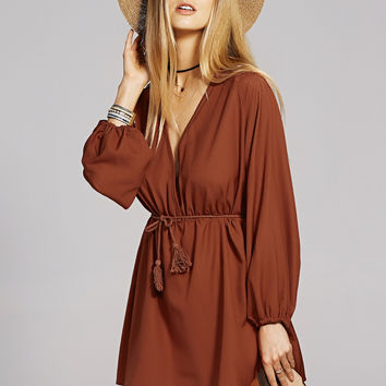 Bohemian Long Sleeve Plunging Neck A-Line Dress