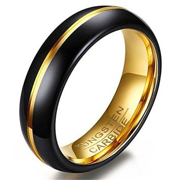 6mm Tungsten Carbide Ring Two-tone 18k Gold Black Wedding Engagement Promise Band