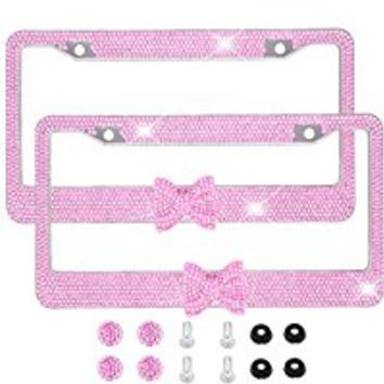 Bling Bling License Plate Frames -8 Row Pure Handmade Waterproof Glitter Rhinestones Crystal License Frames plate for Cars with 2 Holes with Screws Caps Set (2-Pack Pink Bow)