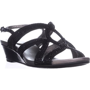 Bandolino Gomeisa Slingback Wedge Sandals, Black, 7.5 US