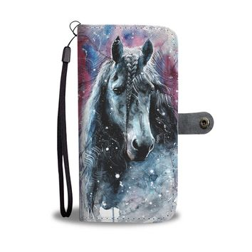 KUYOU Watercolor Horse In The Snow Wallet Phone Case
