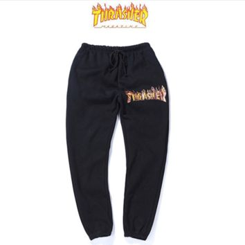 Tide brand new flame THRASHER Couples leisure leisure pants plus velvet pants
