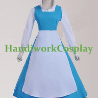 Beauty and The Beast Dress,Adult Belle Peasant Dress Maid Costume,Princess Belle Blue Dress Custom Any Size