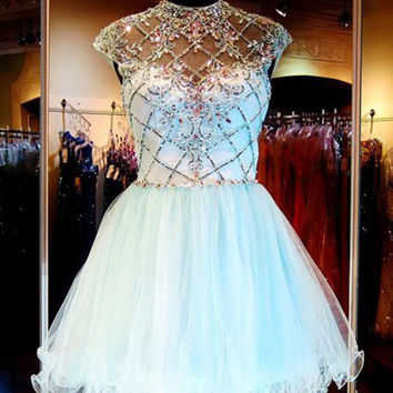 White Rhinestone Short Prom Dresses 2016 Brilliant Beaded Ball Gown Short Cocktail Dresses Short Graduation Summer Dress On Sale