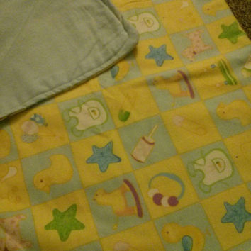 Yellow and blue flannel reversible receiving blanket