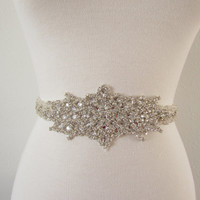 SALE - Wedding Belt, Bridal Belt, - Ivory/Off White Pearl with Crystal Rhinestone Applique - Style SA2034