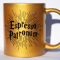 Harry Potter Espresso Patronum Golden Gold Coffee Mug Sparkle expecto