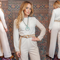 70s White Mesh Cutout Jumpsuit | Avante Garde Resort Winter Long Sleeved 1970s Romper Pantsuit | One Piece Belted Playsuit Wide Leg Flared
