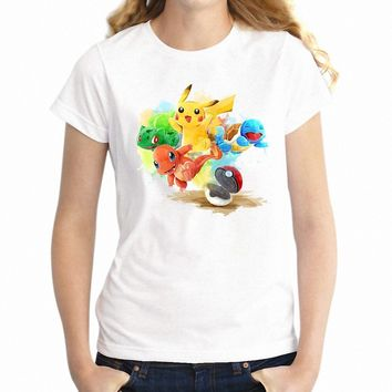 Women's T Shirt Cute  Ash Pikachu Squirtle Charizard Gamer Girl's TeeKawaii Pokemon go  AT_89_9