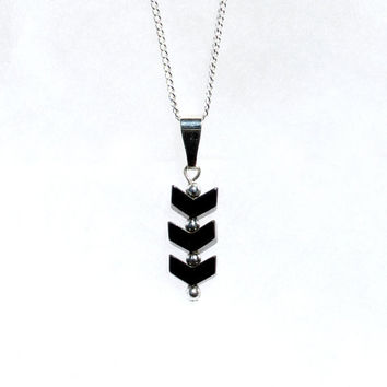 Silver Necklace with Hematite Chevrons, Silver Pendant Necklace, Hematite Pendant, Hematite Necklace