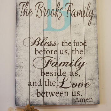 Bless The Food Pallet Sign Kitchen Sign Dining Room Sign Wedding Gift Housewarming Gift Anniversary Gift Shabby Chic Wall Decor Handmade