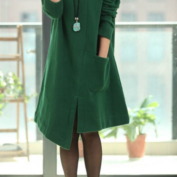 Asymmetric Spring Coat long sleeved dress