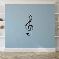 Heart Treble Clef Music Note Vinyl Wall Decal Sticker Graphic