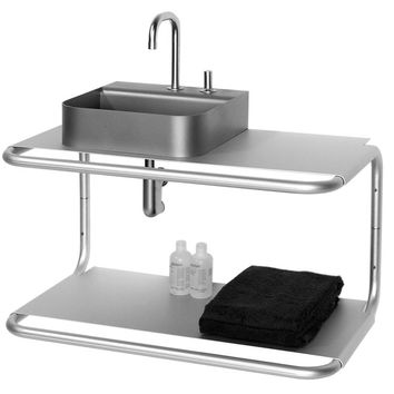 Aeri double shelf wall mount aluminum structure with integral towel bar