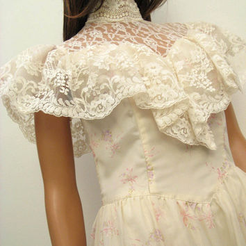 Gunne Sax Wedding Dress XS - Vintage Off White Pink Floral Chiffon Formal Prom Gown Size 7 Extra Small Southern Belle Victorian Costume