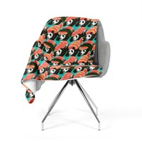 "Tobe Fonseca ""Sushi Panda"" Orange Blue Fleece Throw Blanket"