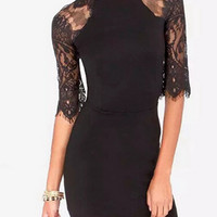 Black Lace Splice Bodycon Dress With Half Sleeve