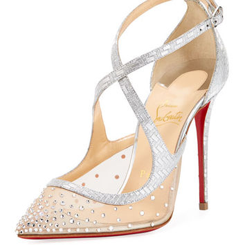 Christian Louboutin Twistissima Strass Strappy Red Sole Pump