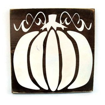 Fall Autumn Thanksgiving Halloween Pumpkin Rustic Wood Sign Wall Hanging Home Decor (#1222)
