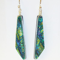 Handmade Green Dichroic Glass Dangle Earrings jewelry women Valentines Day