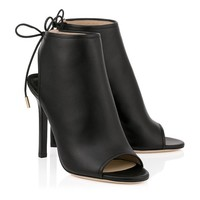 Black Nappa Leather Sandal Booties   Froze   Spring Summer 15   JIMMY CHOO Shoes