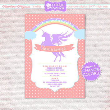 Printable unicorn invitation, Rainbow unicorn invites,  Pegasus invitation, colorful birthday party invitation for girls / print at home