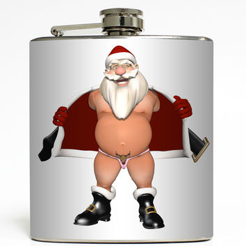Reindeer Thong - Flashing Santa Flask
