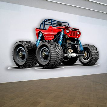 Jeep Red 4x4 Lift Kit Muscle Car WALL DECAL REMOVABLE REPOSITIONABLE